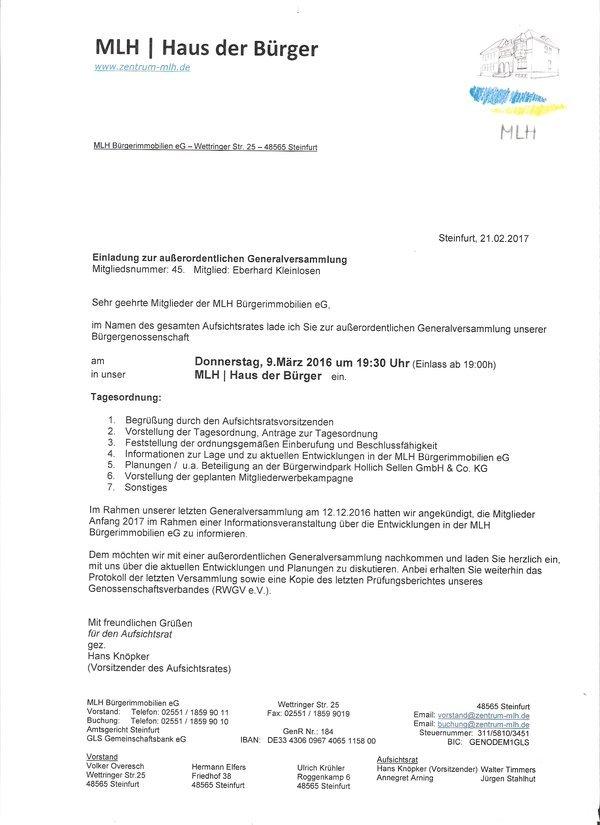 genossenschaftsmitteilungen + mitgliederversammlung - haus der, Einladung